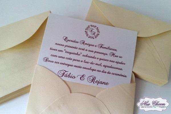Envelope presente em dinheiro casamento