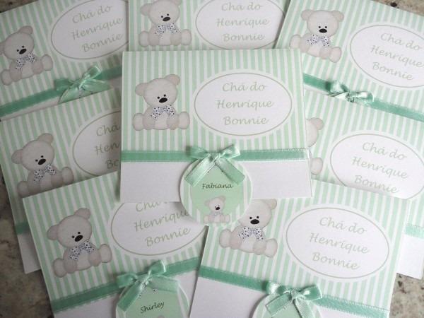 03 convites chá bebê brincadeiras barato diferente floral