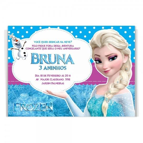 10 convites aniversário personalizado frozen elza + brinde