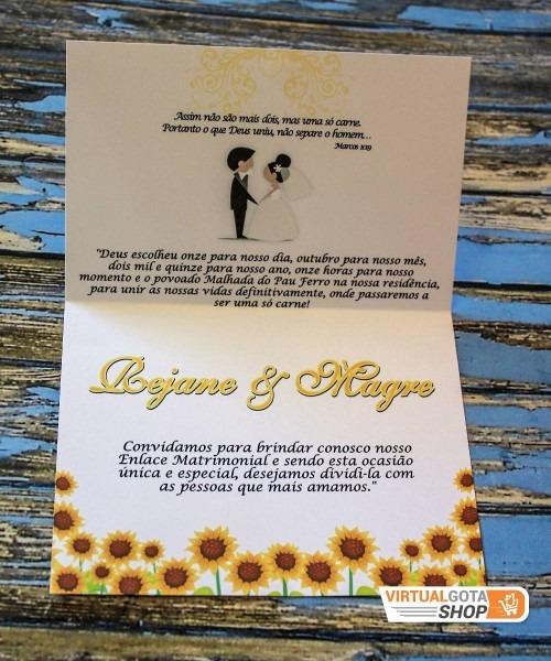 10 convites de casamento florido modelo simples e barato