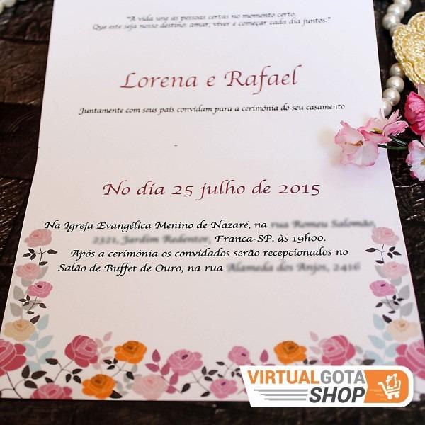 120 convites de casamento modelo simples barato frete gratis