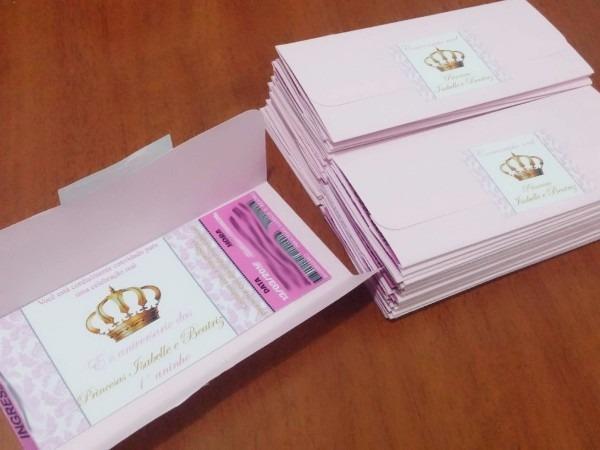 25 convite ingresso c  envelope aniversário coroa princesa