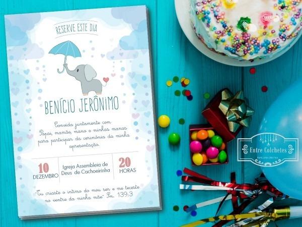 30 convites elefante apresentação batismo chá de bebê