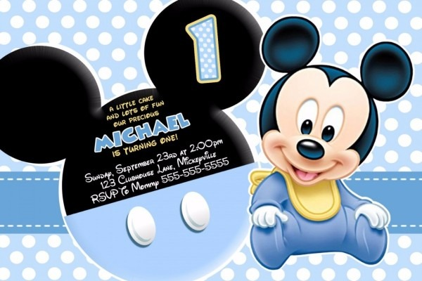 30 convites mickey baby festa infantil