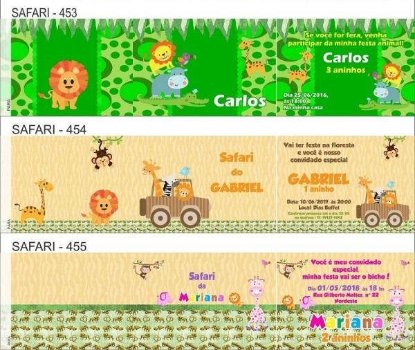 50 convites infantil safari envelope personalizado 14x10cm