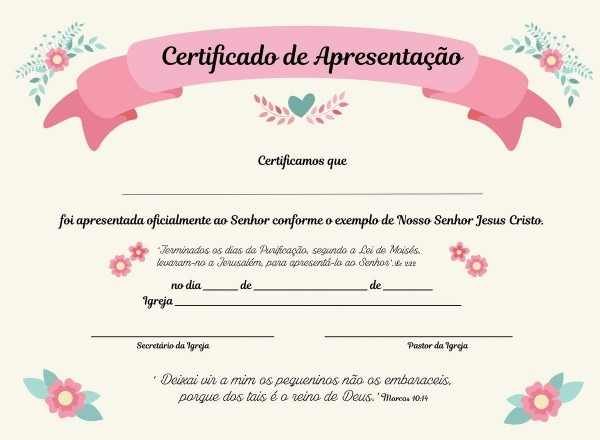Certificado de apresentação para igreja