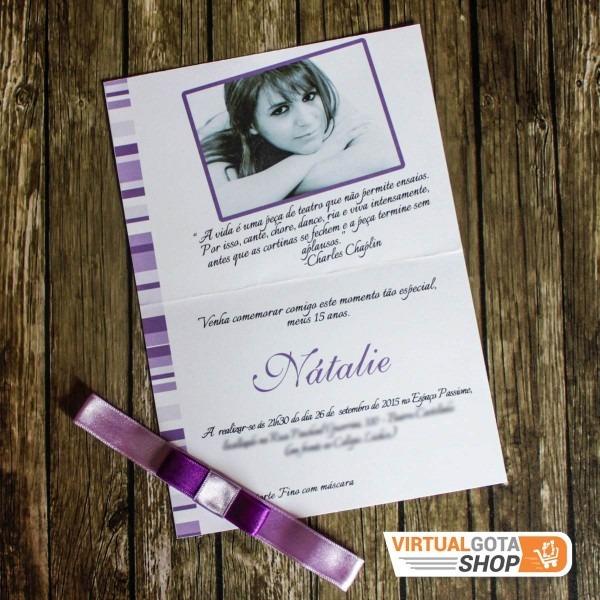80 convites aniversário quinze anos 15 anos debutante lilás