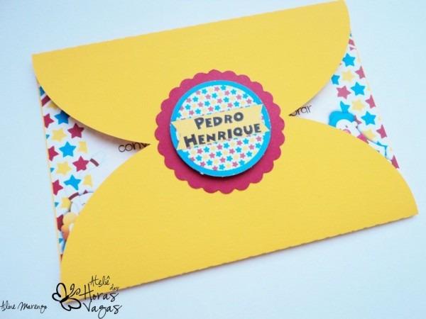 Convite artesanal envelope aniversário 1 aninho circo menino