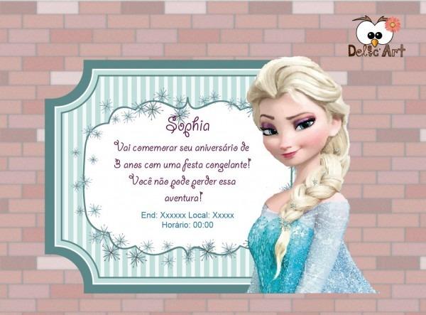 Arte convite frozen no elo7