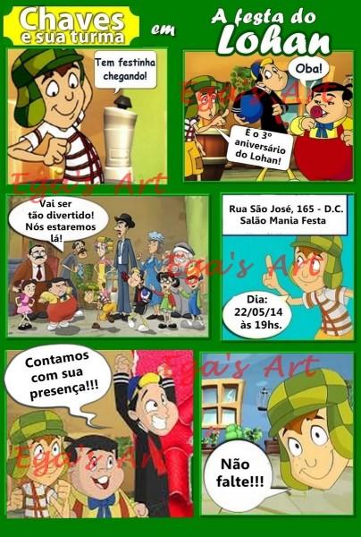 Arte gibi convite infantil turma do chaves no elo7
