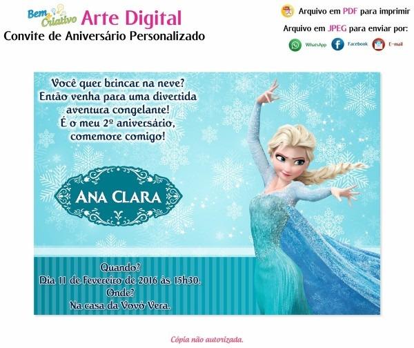 Arte digital convite aniversário personalizado frozen