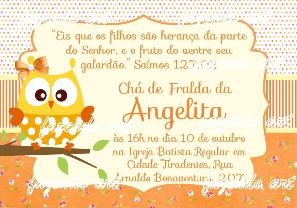 Arte digital convite chá de bebê coruja no elo7