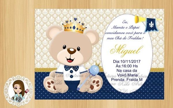 Convite digital chÁ de fraldas ursinho prÍncipe 2 no elo7