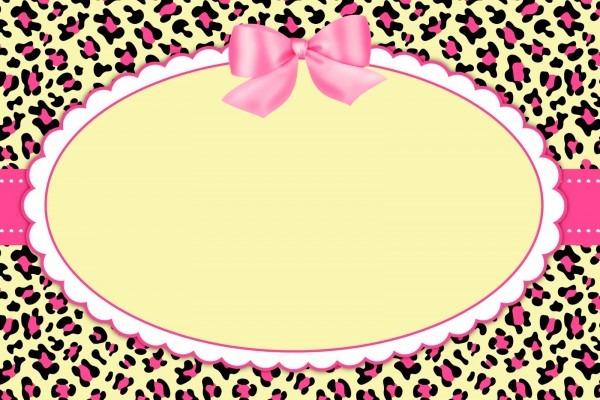 Arte digital convite oncinha rosa no elo7
