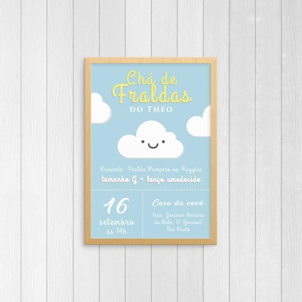 Convite chá de bebê fraldas menino tema nuvem personalizado no