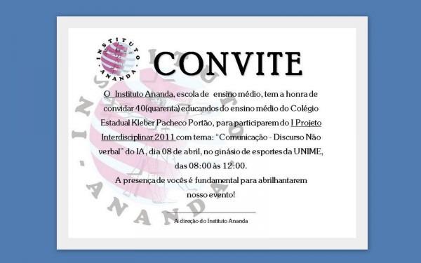 Instituto ananda  convite oficial aos participantes do i projeto