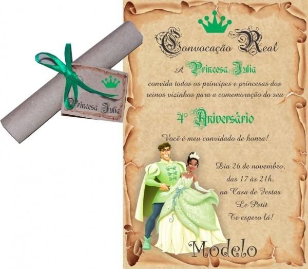 Convite a princesa e o sapo no elo7