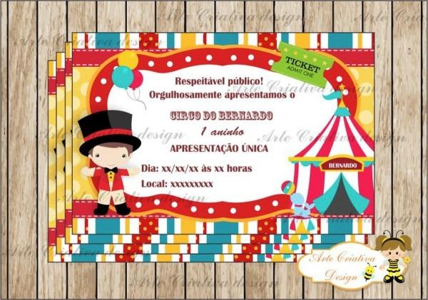 Convite aniversário circo no elo7