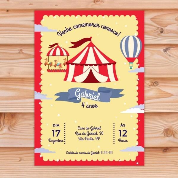 Convite aniversário festa circo