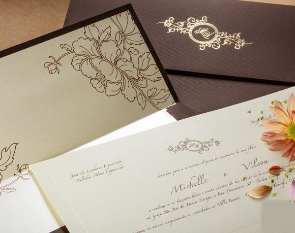 Convite casamento marrom no elo7