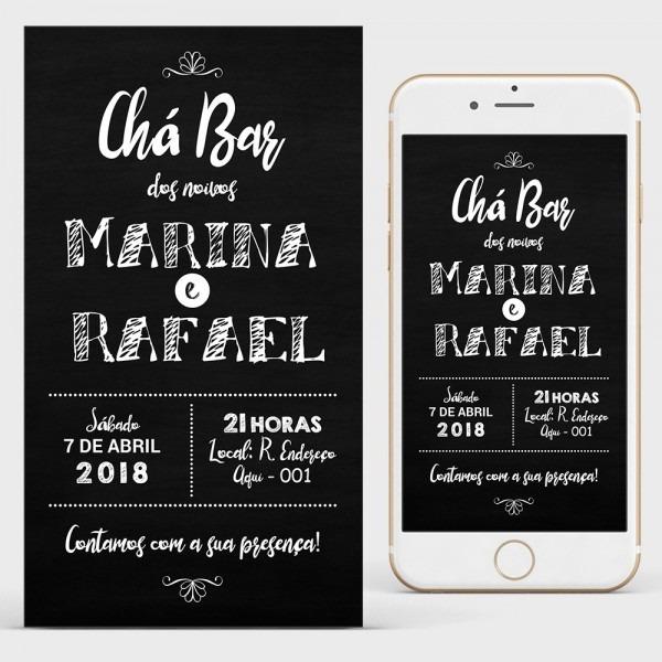 Convite chá bar bodas casamento arte digital para whatsapp
