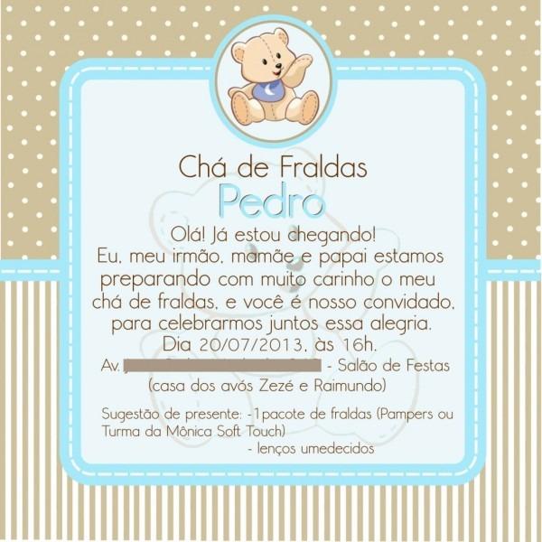 Convite  chá de fralda  no elo7