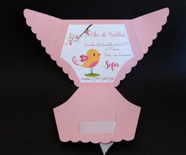 Convite chá de fraldas chá bebê fraldinha c  20un frete fixo