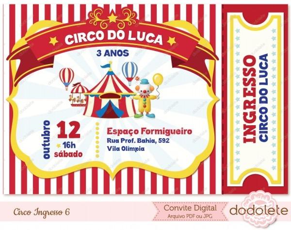 Convite digital circo ingresso 6 no elo7