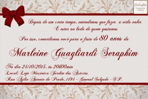 Convite de aniversario 80 anos 6 » happy birthday world