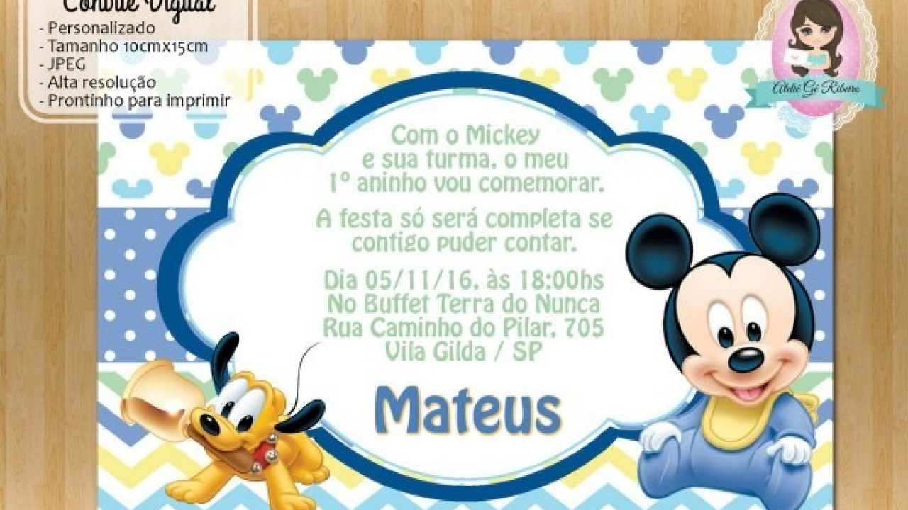 Convite Mickey Baby