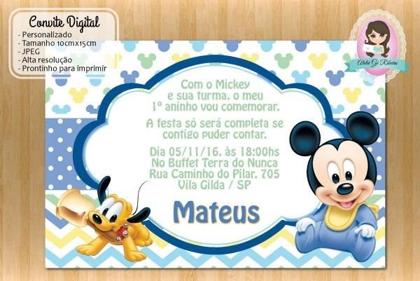 Convite de aniversario mickey baby 4 » happy birthday world