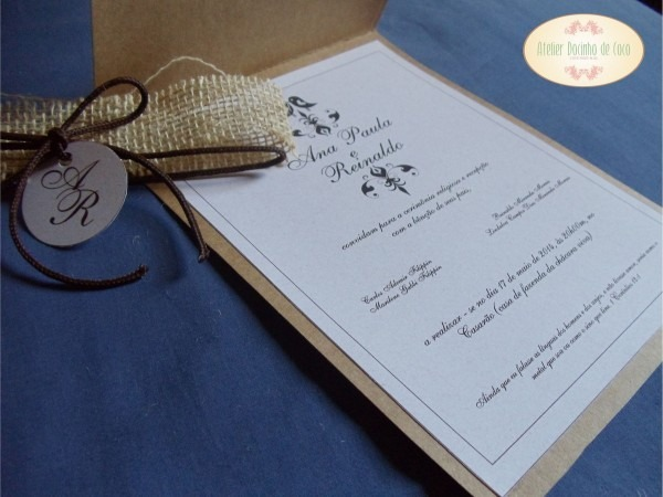 Convite de casamento capa cru rústico no elo7