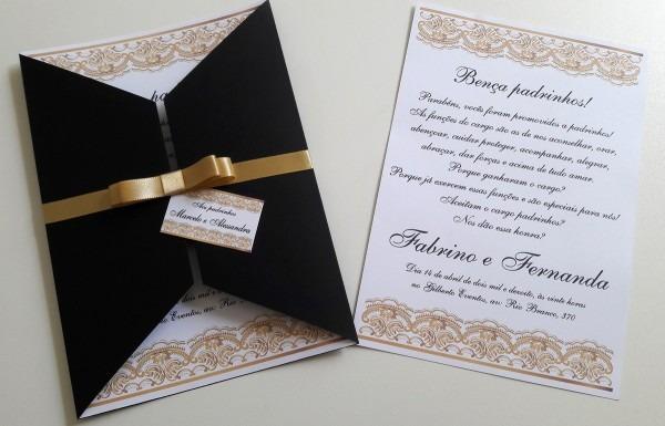 Convite de casamento capa preta no elo7