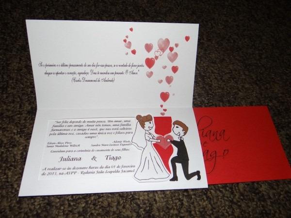 Convite de casamento encontro coração c  capa 10 unidades