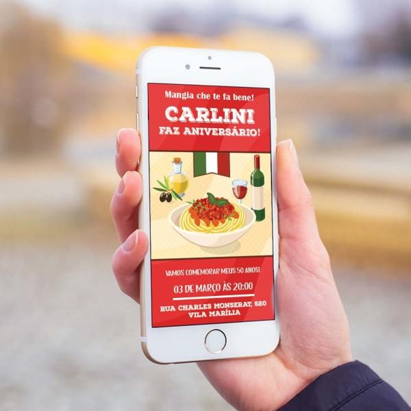 Convite digital restaurante cantina italiana mod3 no elo7