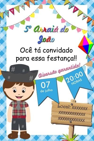 Convite digital festa junina para whatsapp imprimir