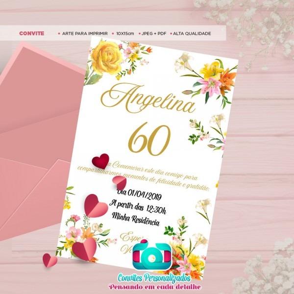Convite digital floral amarelo 60 anos enviar via whatsapp no elo7