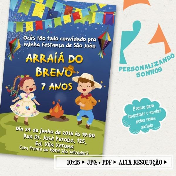 Convite digital são joão (festa junina) no elo7