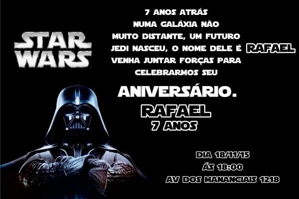 Convite digital star wars no elo7