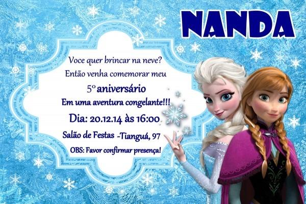 Convite de aniversario frozen no elo7