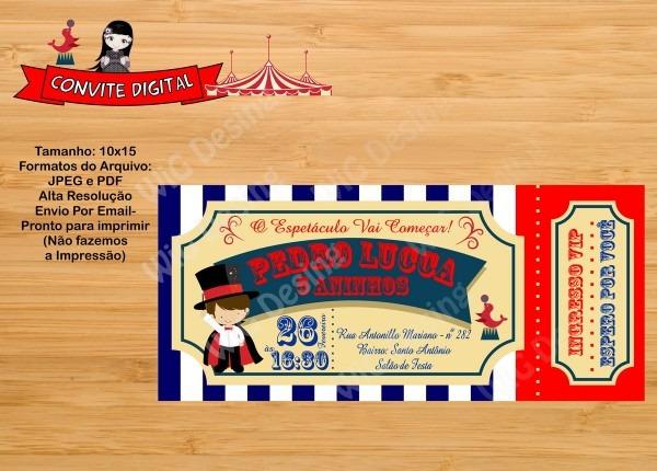 Convite ingresso digital circo no elo7