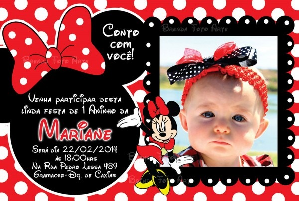 Convite minnie mouse no elo7