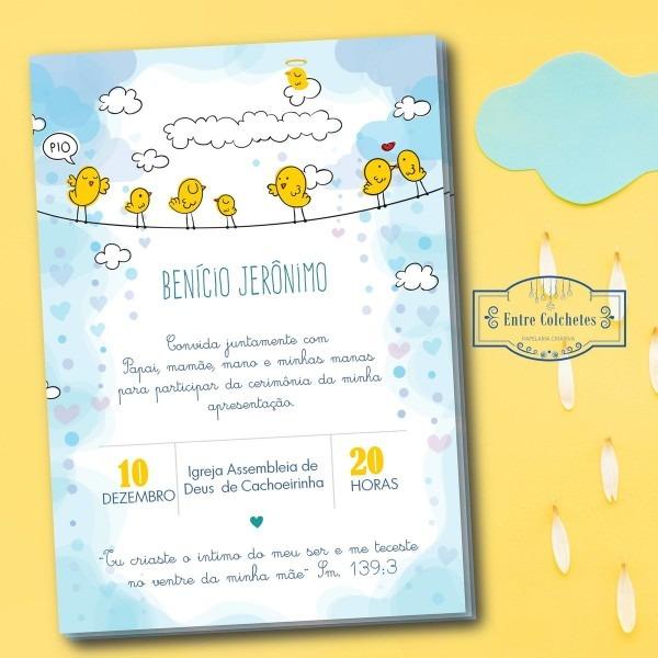 Convite tema passarinho chá de bebê aniversário arte digital no