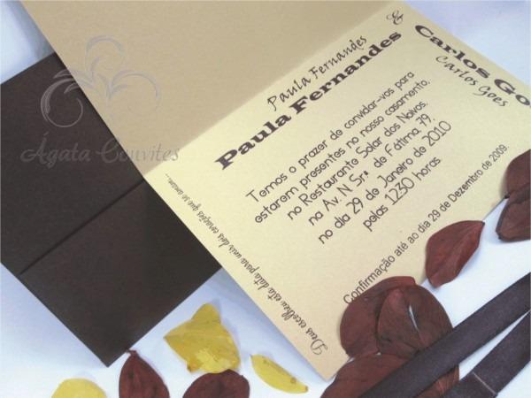Convite de casamento dourado e marrom
