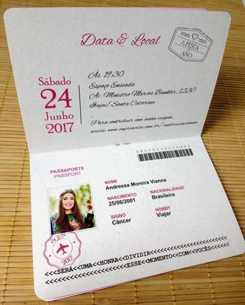 Convites aniversário 15 anos passaporte debutante
