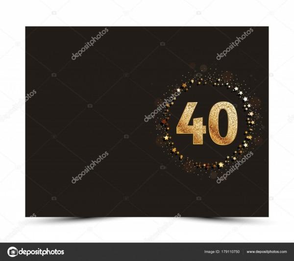 Aniversário de 40 anos decorados saudação   convite cartão modelo