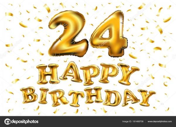 Feliz aniversário 24 anos alegria aniversário  ilustração 3d com