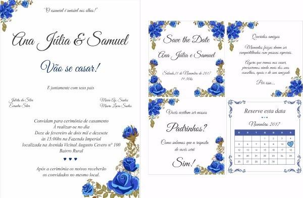 Kit manual dos padrinhos e convite de casamento arte digital