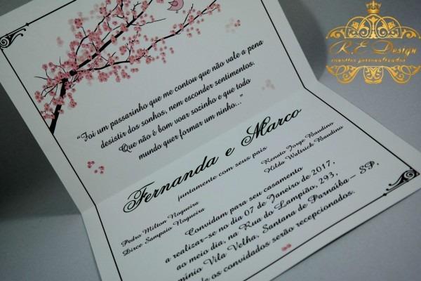Maravilhoso convite de casamento um passarinho me contou vermelho