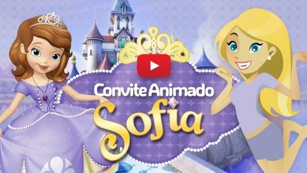 Convite animado virtual princesa sofia grátis